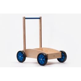 Houten kinderduwwagen blauw ADO
